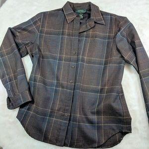 Ralph Lauren dark brown wool plaid collared shirt